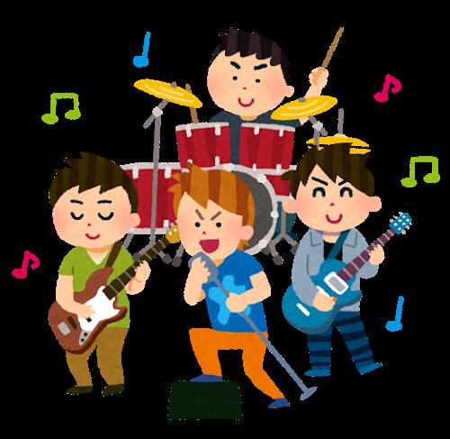演奏するバンドのイラスト